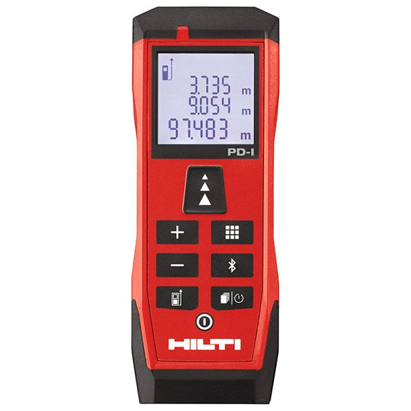 Hilti laser range meter with Bluetooth, painter's area, Pythagoras, volume, and stake-out functions