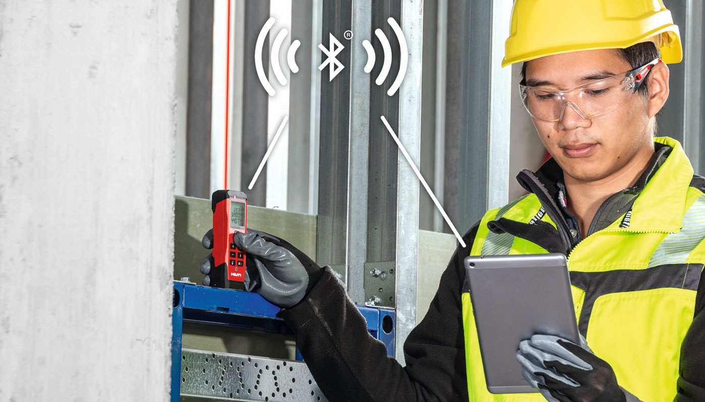 Hilti laser range meter with Bluetooth, painter's area, volume calculation, Pythagoras and stake-out functions