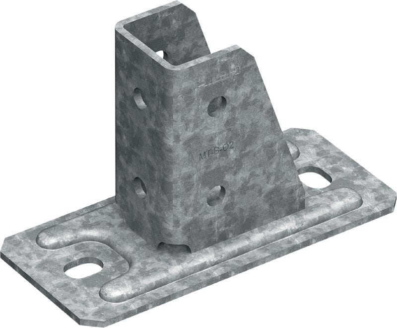 MT-B-O2 OC Baseplate (outdoor) Base connector for anchoring strut channel structures to concrete and steel in moderately corrosive environments