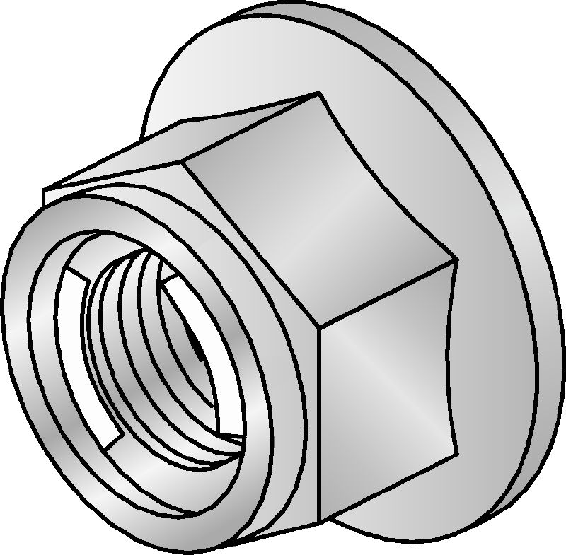 M12-F-SL-WS 3/4 Hot-dip galvanized (HDG) hexagon nut with self-locking mechanism used with all MI connectors