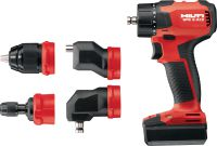 SFE 2-A12 Multi-head drill driver Subcompact-class 12V multi-head cordless drill driver (offset, right-angle, 13 mm keyless and hex bit holder) for installation work in tight spaces and around corners