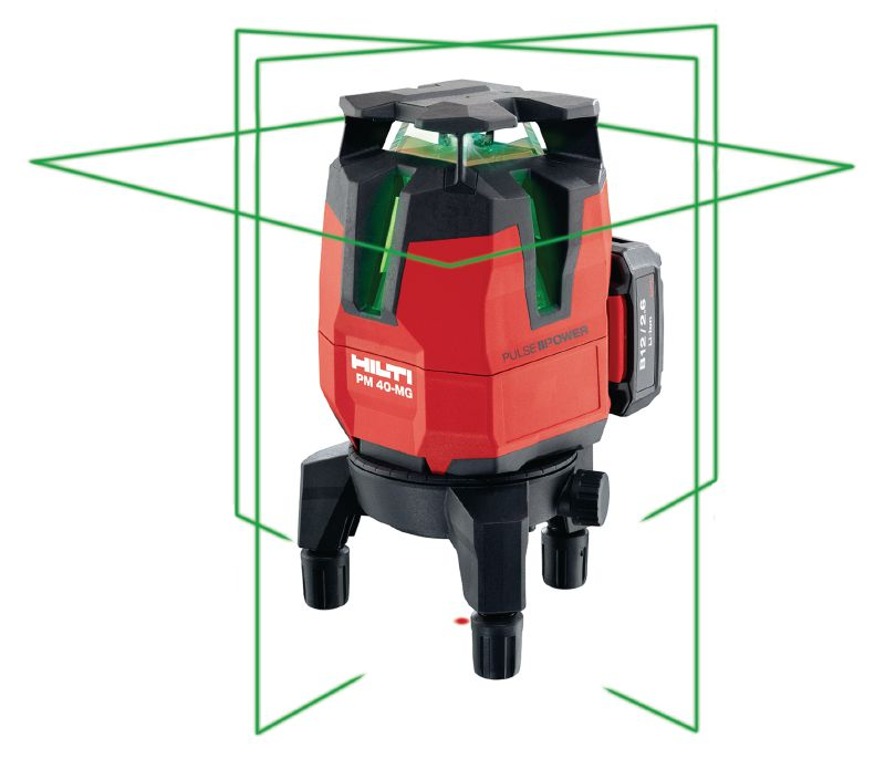 PM 40-MG Multi-line laser Multi-line laser with 3 green lines for plumbing, leveling, aligning and squaring
