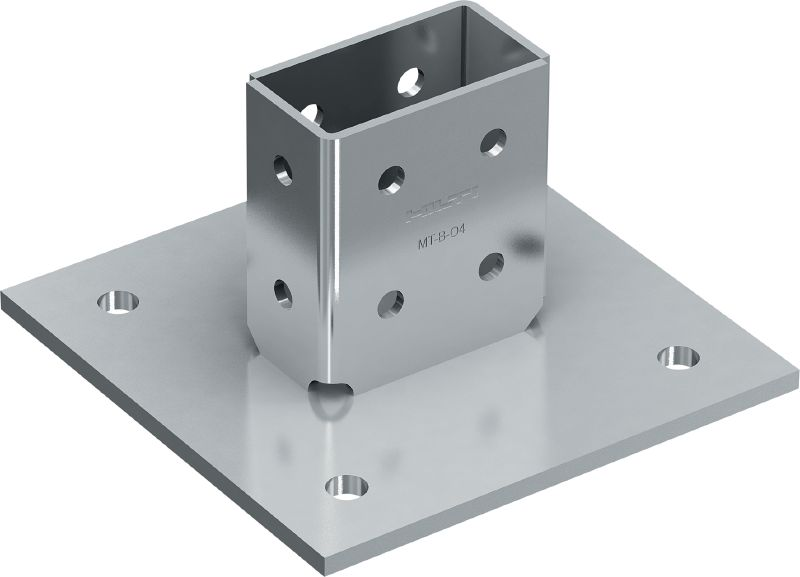 MT-B-O4 OC 3D-load baseplate (outdoor) Base connector for anchoring strut channel structures under 3D loading to concrete and steel in moderately corrosive environments