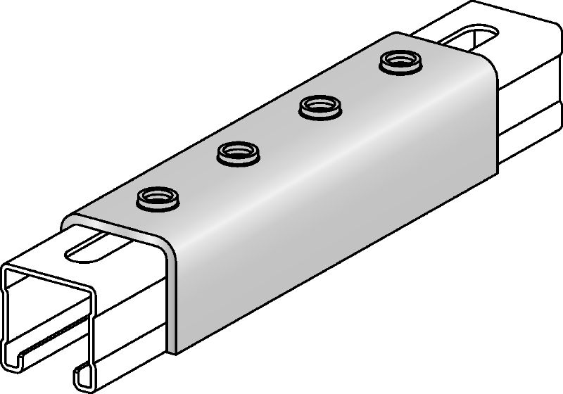 MQV-F Hot-dip galvanized channel connector used as a longitudinal extender for MQ strut channels
