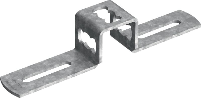 MIC-MI/MQ-X Hot-dip galvanized (HDG) connector for fastening MQ strut channels perpendicular to MI girders