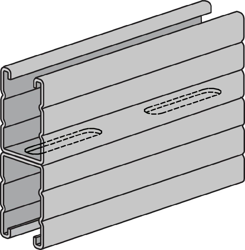 HS Pre-galvanized back-to-back (B2B) strut channels for medium-duty applications 2-7/16 - 12 ga