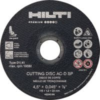 AC-D SP Type 1 Cut-off wheel High-performance thin cut-off wheel for cutting stainless/carbon steel using an angle grinder