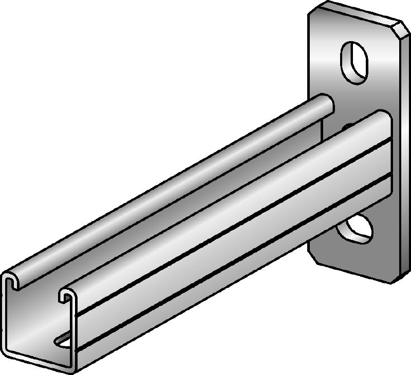 MQK-41/3 Galvanized bracket with a 41 mm high, 3 mm thick single MQ strut channel