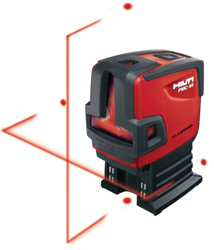 PMC 46 Plumb and line laser Combi-laser with 2 lines and 4 points for plumbing, leveling, aligning and squaring with red beam