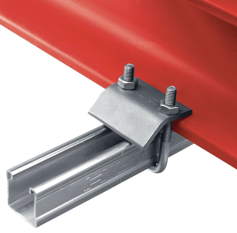 MQT-R Stainless steel (A4) beam clamp for connecting MQ strut channels directly to steel beams