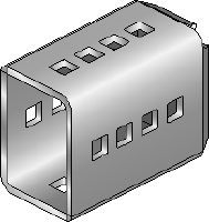 MIC-SC Hot-dip galvanized (HDG) connector used with MI baseplates that allow for free positioning of the girder