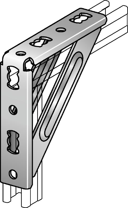MQW-S Galvanized 90-degree heavy angle for connecting multiple MQ strut channels in medium/heavy-duty applications