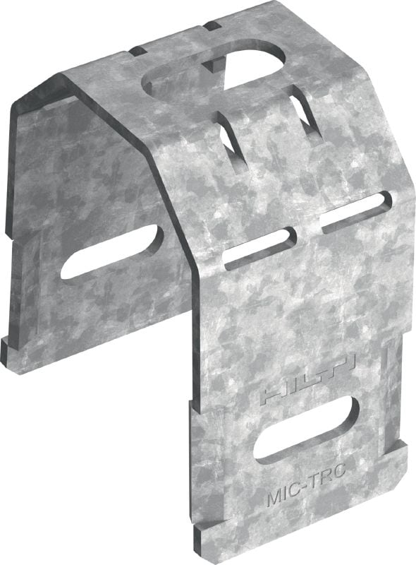 MIC-TRC Hot-dip galvanized (HDG) connector for fastening M12 (1/2) and M20 (3/4) threaded rods to MI girders
