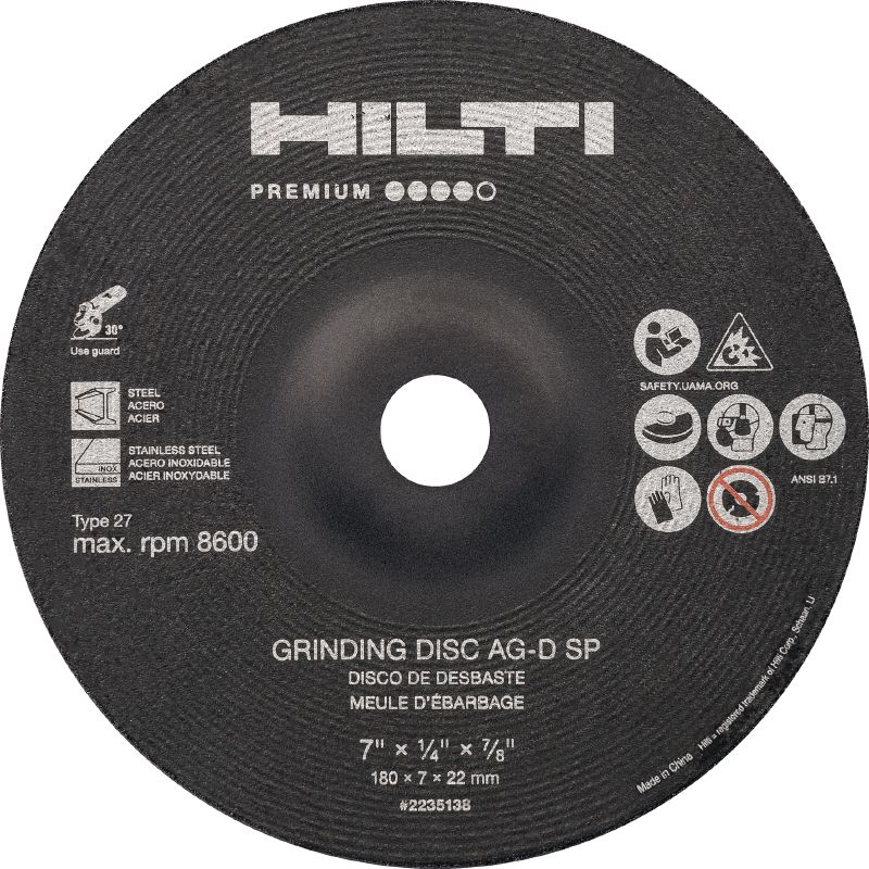 AG-D SP Type 27 - Premium High-performance abrasive grinding disc for fast, rough grinding of stainless/carbon steel (Type 27)