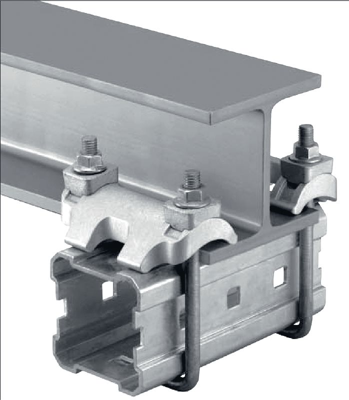 MI-DGC Hot-dip galvanized (HDG) double beam clamp for connecting MI girders to steel beams for heavy-duty applications