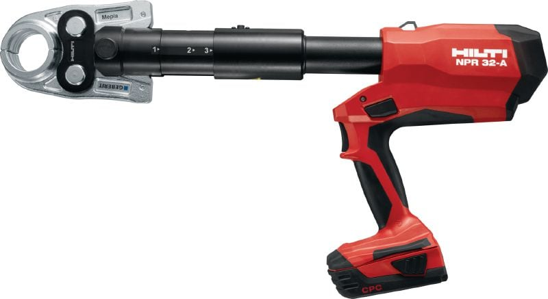 NPR 32-A Pistol-grip pipe press tool Cordless 22V press tool for metal pipes up to 108 mm / 4 and plastic pipes up to 110 mm